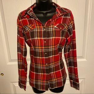 NWOT Wrangler red brown orange flannel plaid shirt